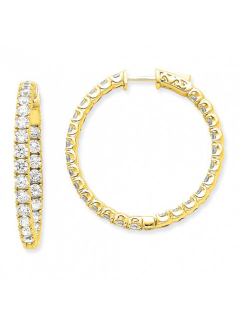 Quality Gold 14k Diamond Round Hoop W/Safety Clasp Earrings