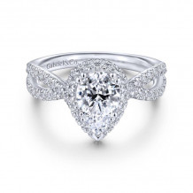 Gabriel & Co. 14k White Gold Contemporary Halo Diamond Engagement Ring - ER14425P4W44JJ
