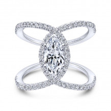 Gabriel & Co. 14k White Gold Nova Halo Diamond Engagement Ring - ER12644M4W44JJ