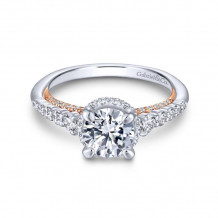 Gabriel & Co. 14k Two Tone Gold Crown Straight Diamond Engagement Ring - ER13829R4T44JJ