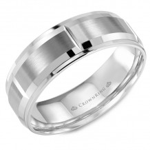 CrownRing 14k White Gold  Carved 7mm Wedding Band - WB-9402