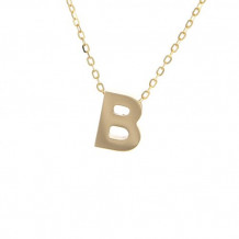 Lau International 14k Yellow Gold Initial B Pendant with Chain