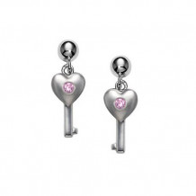 Sterling Silver Pink Sapphire Heart with Key earrings