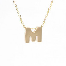 Lau International 14k Yellow Gold Initial M Pendant with Chain