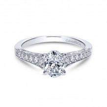 Gabriel & Co. 14k White Gold Victorian Straight Diamond Engagement Ring - ER8805W44JJ