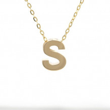 Lau International 14k Yellow Gold Initial S Pendant with Chain