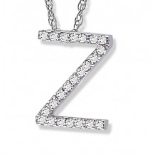Lau International 14k White Gold Diamond Initial Z Pendant