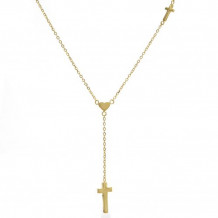 Lau International 14K Yellow Gold Cross Lariat Necklace