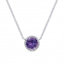 Gabriel & Co. 14k White Gold Lusso Color Gemstone & Diamond Necklace - NK4616W45AM