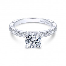 Gabriel & Co. 14k White Gold Victorian Straight Diamond Engagement Ring - ER13914R4W44JJ