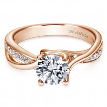 Gabriel & Co. 14k Rose Gold Round Bypass Engagement Ring
