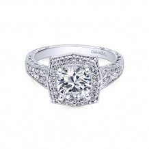 Gabriel & Co 14k White Gold Round Double Halo Engagement Ring
