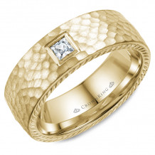 CrownRing 14k Yellow Gold Diamond Rope 8mm Wedding band - WB-021RD8Y