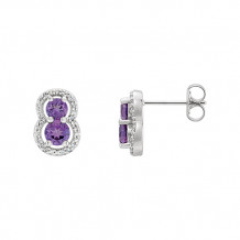 Stuller 14k White Amethyst & Diamond Earrings