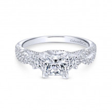 Gabriel & Co. 14k White Gold Contemporary 3 Stone Diamond Engagement Ring - ER12663S3W44JJ
