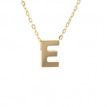 Lau International 14k Yellow Gold Initial E Pendant with Chain