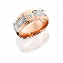 Lashbrook 14k Rose Gold Diamond and Meteorite Inlay Wedding Band