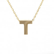 Lau International 14k Yellow Gold Initial T Pendant with Chain