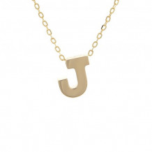 Lau International 14k Yellow Gold Initial J Pendant with Chain