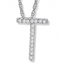 Lau International 14k White Gold Diamond Initial T Pendant