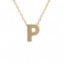 Lau International 14k Yellow Gold Initial P Pendant with Chain