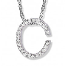 Lau International 14k White Gold Diamond Initial C Pendant