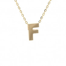 Lau International 14k Yellow Gold Initial F Pendant with Chain