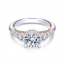 Gabriel & Co. 14k Two Tone Gold Crown Straight Diamond Engagement Ring - ER13828R4T44JJ