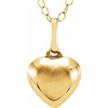 """14K Yellow Puffed Heart 15"""" Necklace"""