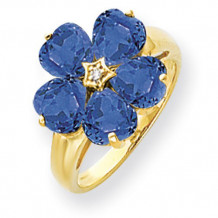 Quality Gold 14k Yellow Gold 6mm Heart Sapphire & Diamond Ring