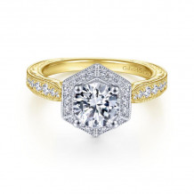 Gabriel & Co. 14k Two Tone Gold Art Deco Halo Diamond Engagement Ring - ER14499R4M44JJ