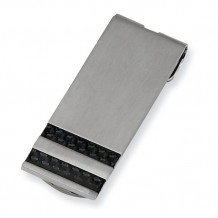 Chisel Stainless Steel Brushed Black Carbon Fiber Money Clip