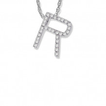 Lau International 14K White Gold Diamond Initial R Pendant