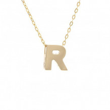 Lau International 14k Yellow Gold Initial R Pendant with Chain