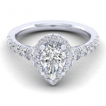 Gabriel & Co. 14k White Gold Entwined Halo Diamond Engagement Ring - ER12764P4W44JJ