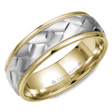 CrownRing 14k Two Tone Gold Carved 7mm Wedding Band - WB-9583