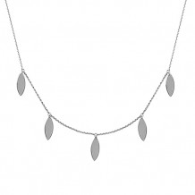 Midas 14k White Gold Dangle Tear Station Necklace
