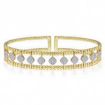 Gabriel & Co. 14k Yellow Gold Bujukan Diamond Bangle Bracelet - BG4232-65Y45JJ