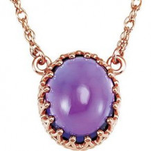 "14K Rose 10x8 mm Oval Amethyst 18"" Necklace"