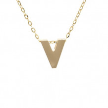 Lau International 14k Yellow Gold Initial V Pendant with Chain