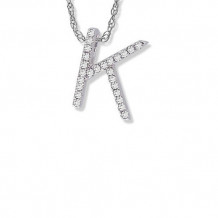 Lau International 14K White Gold Diamond Initial K Pendant