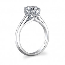 14k White Gold Coast Diamond 0.1ct Diamond Semi-Mount Engagement Ring With Milgrain Details