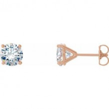 14K Rose 1 CTW Diamond 4-Prong Cocktail-Style Earrings