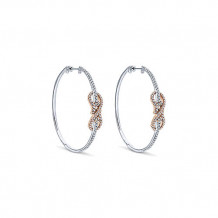 14k White & Rose Gold Gabriel & Co. Diamond Intricate Hoop Earrings