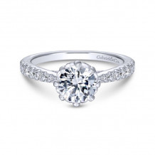 Gabriel & Co. 14k White Gold Contemporary Straight Diamond Engagement Ring - ER14403R4W44JJ