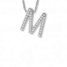 Lau International 14K White Gold Diamond Initial M Pendant