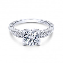 Gabriel & Co. 14k White Gold Victorian Straight Diamond Engagement Ring - ER13848R4W44JJ