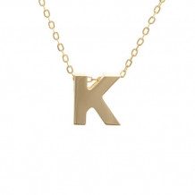 Lau International 14k Yellow Gold Initial K Pendant with Chain