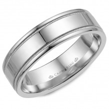 CrownRing 14k White Gold  Carved 7mm Wedding Band - WB-6497
