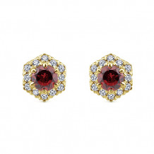 14k White Gold Gabriel & Co. Diamond Garnet Stud Earrings